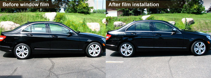 Mercedes after window tinting.