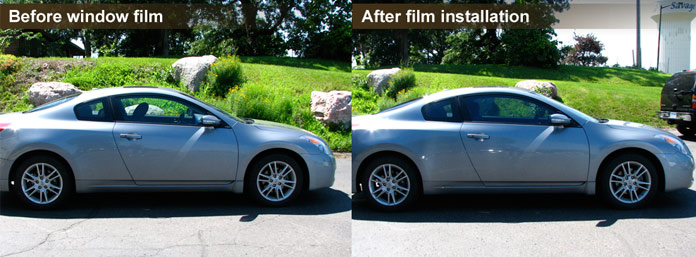 Nissan after window tinting.